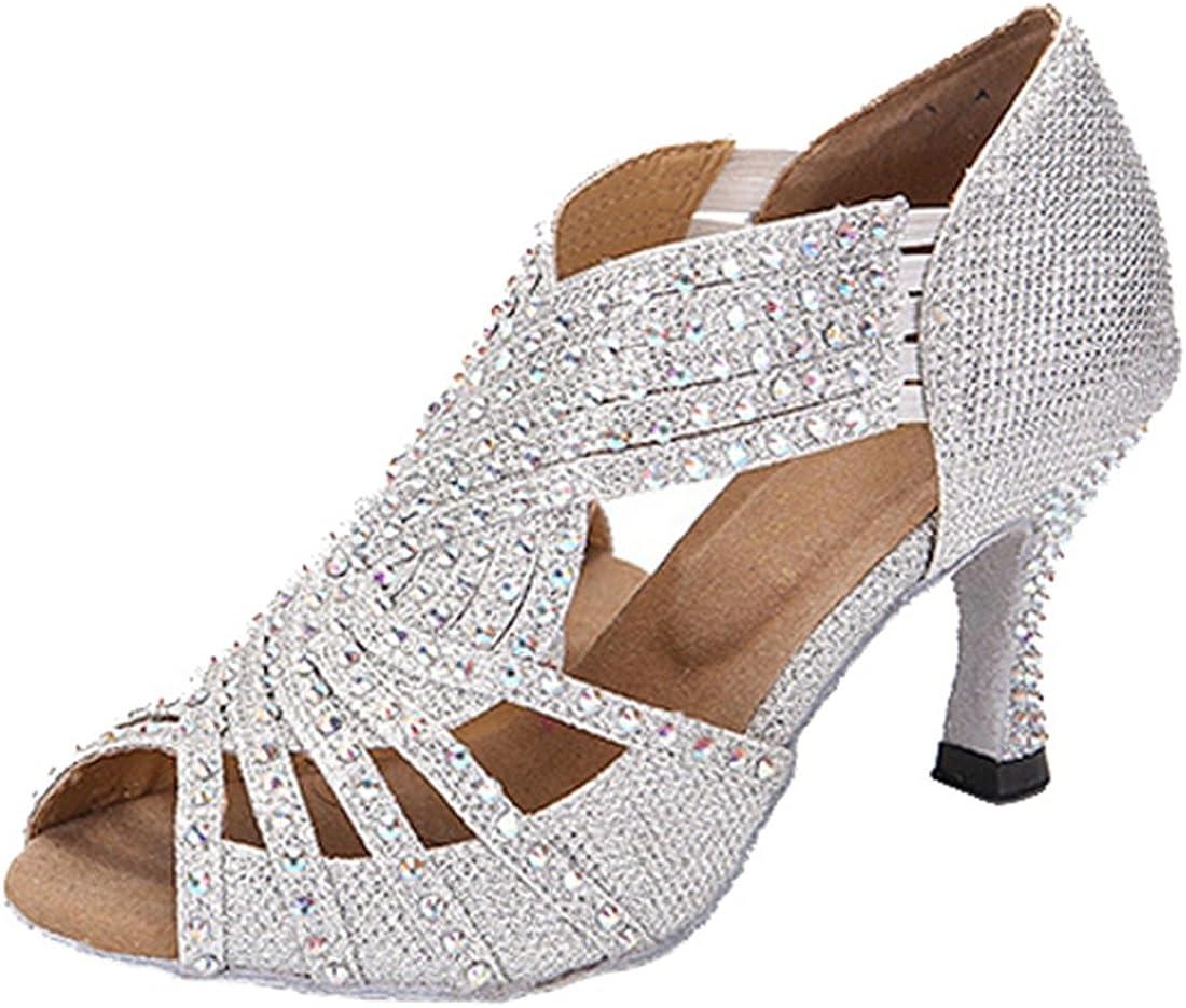 TDA Womens Flared Dedication Heel Glitter Modern Latin Max 76% OFF Salsa Crystals Tango