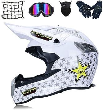 Mrdear Motocross Helm Set Motorrad Crosshelm Mit Brille 5 Stück Weiß Rockstar Enduro Mtb Helm Fullface Fahrrad Helm Cross Helm Motorradhelm Für Downhill Bike Atv Bmx S Sport Freizeit