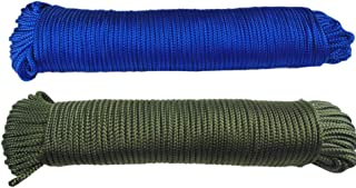 Nylon Rope 1/8 inch(3mm) Solid Braid,High Strength,UV Resistant,for Commercial, Anchors, Crafts, Blocks,Pulleys, Towing, Cargo, Tie-Downs,Wheel & Axles, Boat Docks, Fishing(50 Feet x 2,Green/Blue)