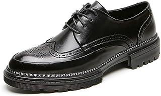 Zapatos casuales Zapatos de Oxford de los hombres, zapatos de cordones de cuero vegano de tela de negocios, delantal de Wi...