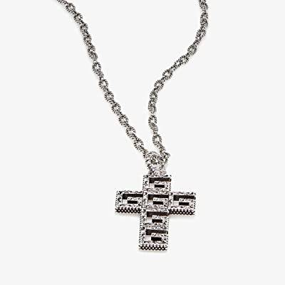 Gucci G Motif and Cross Pendant Necklace in Aged Sterling Silver (Silver) Necklace