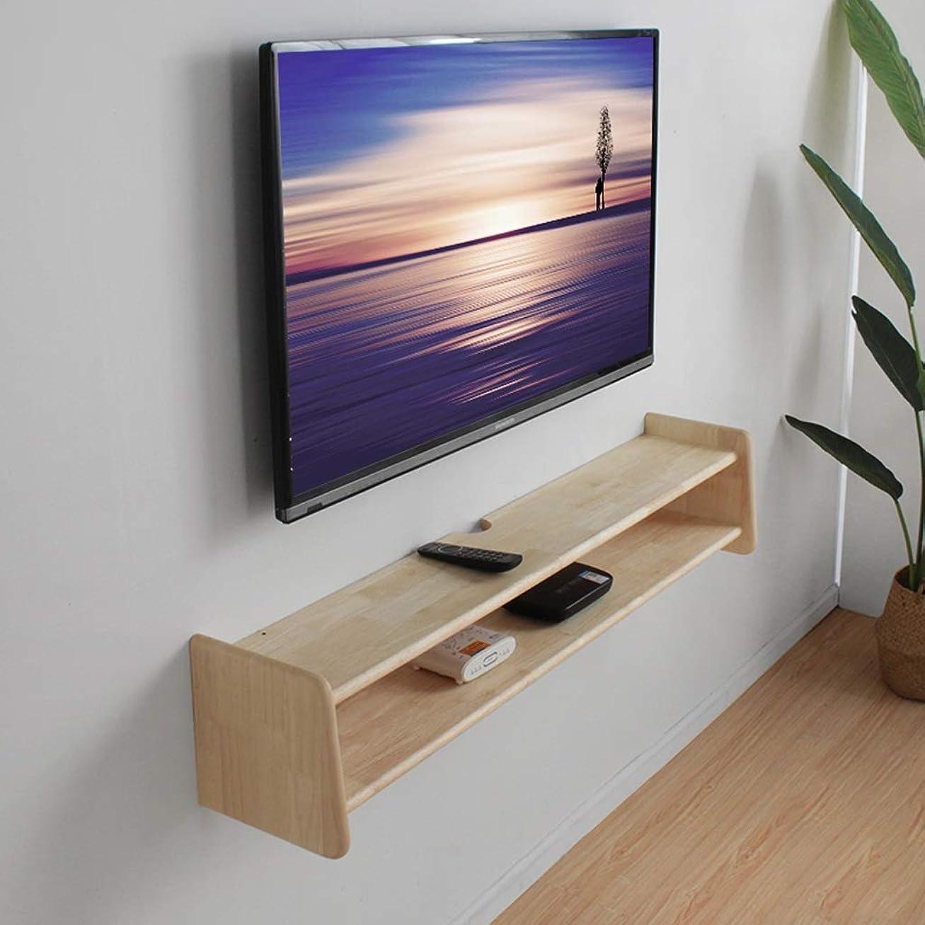 把握グラフ良心壁掛けテレビキャビネットオーディオとビデオの棚ソリッドウッド製壁面シェルフフローティング棚セットトップボックスルーターCDDVDプレーヤー収納棚テレビコンソール (Size : 80cm)