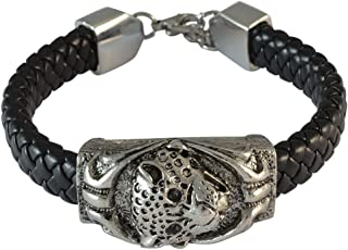 Sarah Panther Charm Black Braided Leather Bracelet for Men
