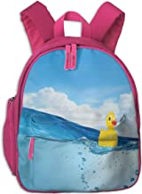 Kids School Backpack for Boys and Girls,Little Duckling Toy Swimming In Pond Pool Sea Sunny Day Floating On Water,Kindergarten Preschool Bag,pink