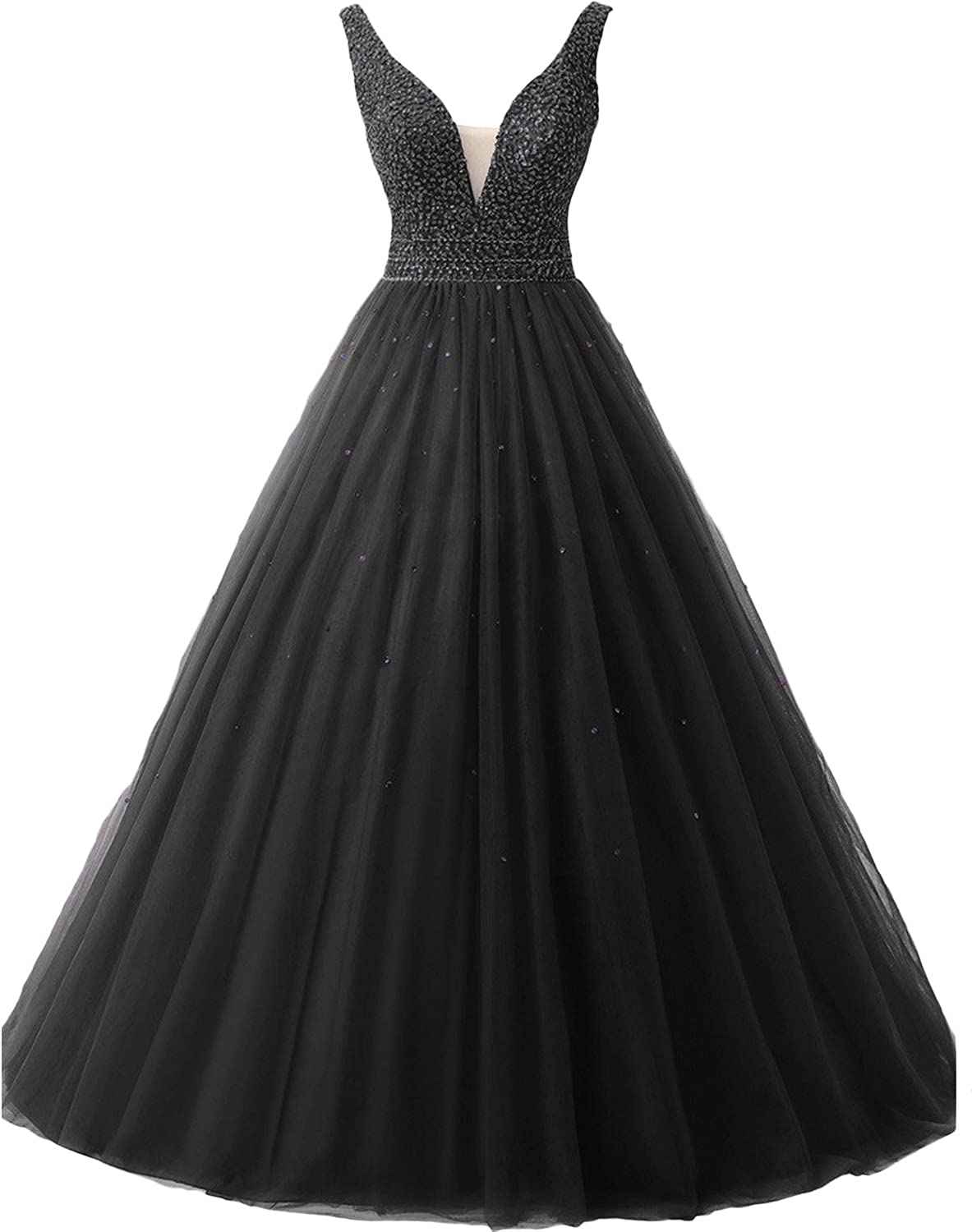 DINGZAN Sequin V Neck Quinceanera Ball Prom Dresses Wedding Gowns
