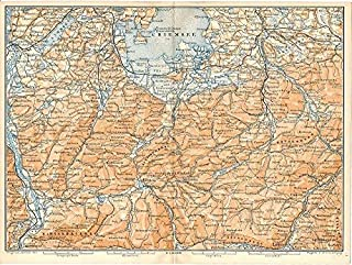 Chiemsee valley region Bavaria Germany 1899 color lithograph regional map