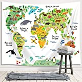 Kids World Map Tapestry Wall Hanging, Cartoon Animal Landmarks Map Children Educational Premium Home Art Wall Decor, Upgrade Tapestries for Bedroom Living Room College Dorm 60X40 Inches