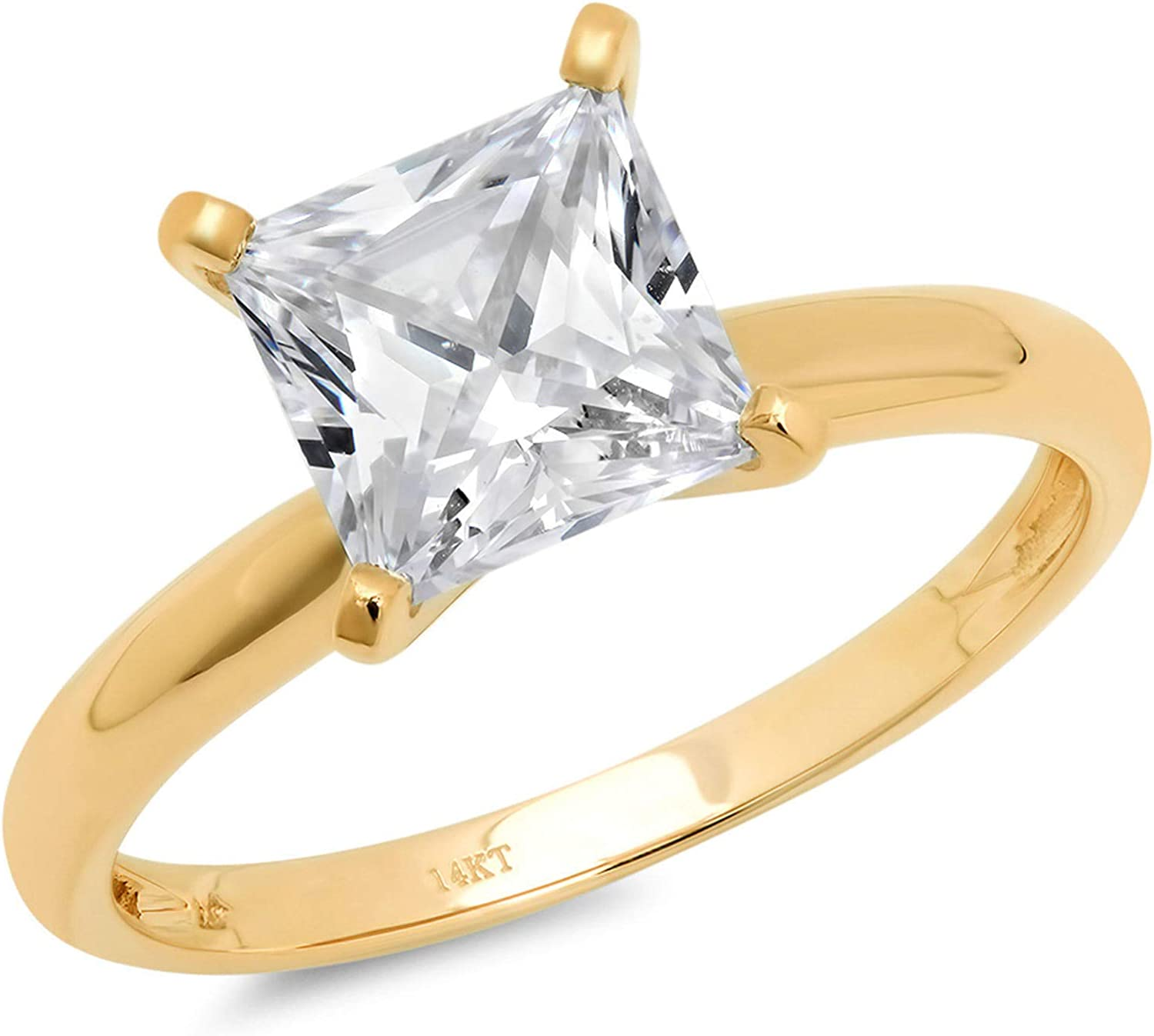 Clara Pucci 1.7 Ct Princess Brilliant Cut Solitaire Engagement Promise Wedding Bridal Anniversary Ring 14K Yellow Gold