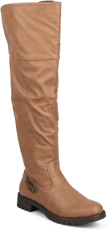 Mark Maddux DE62 Women Knee High Leatherette Back Buckle Elastic Riding Boot - Camel