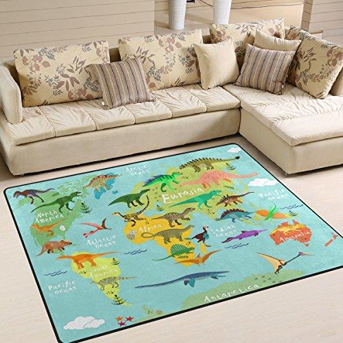 Use7 Teppich mit Cartoon-Weltkarte und Dinosaurier-Motiv, für Wohnzimmer, Schlafzimmer, 160 cm x 122 cm