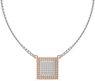 IGI Certified Natural Diamond Pendant Necklace for Women jewelry with 14k Rose & White Gold 0.6 Carat (G-H/SI1) for women