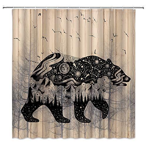 Rustic Bear Shower Curtain Country Wildlife Solar System Mountain Forest Birds Tree Silhouette Fabric Bathroom Decor,Hooks Included,71 X 71 Inches,Black Grey Khaki
