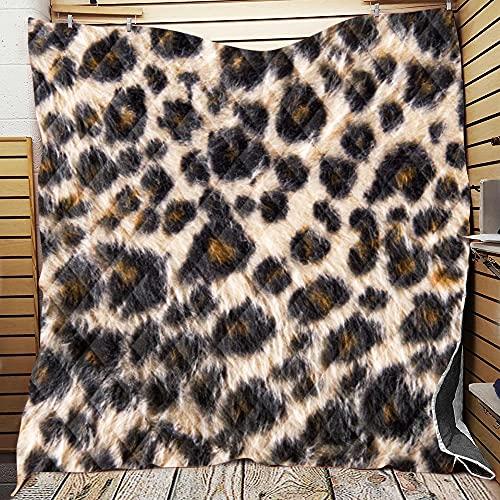 Fansu Colcha Acolchada Fina Suave Cubrecama Rellenos Finos Toda Temporada Edredón Colchas Bouti Cama 90/135/150, Estampado de Leopardo 3D Manta para Sofa (7,226 * 280cm)