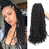 Goddess Faux Locs Crochet Hair Wavy Body Curly Ends Braiding Hair Extension Synthetic Goddess Locs Crochet Braids Natural Black African Soft Bouncy Dreadlocks Bohemian Havana Hairstyles(6Packs,1B#)
