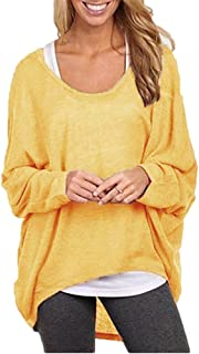 8a29d7973319 Mujeres Camiseta con Mangas Largas de Murciélago Cuello Redondo Camisa Blusa  Suelto Jumper Pullover Sudadera Sweater