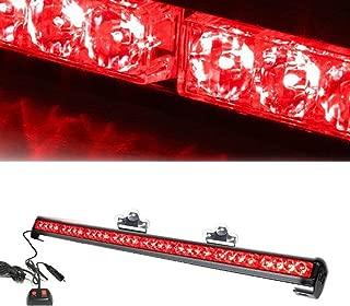 Bullshark 28LED Emergency Hazard Traffic Advisor Strobe Police Warning with Cigar and Suction Cups Flash Strobe Light Bar(Red)