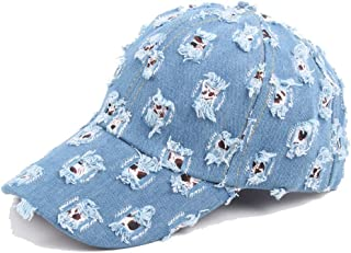 Men's Outdoor Baseball Cap Fall Ladies Vintage Washed Denim Doing Old Holes Grinding Cap Accessories (Color : Light Blue, ...