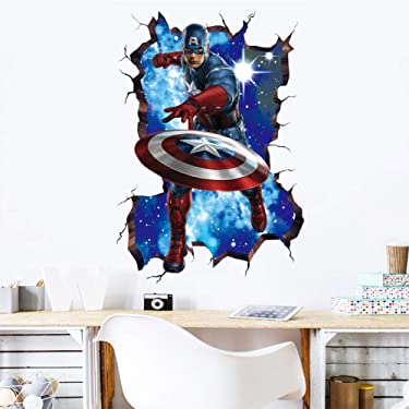 MOE MOE Captain America Wall Decal 3D Marvel Wall Decals for Boys Room, 50×70 cm Captain America Wall Sticker, PVC, Removable (19.7 x 27.6 inches)