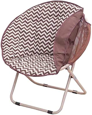 Amazon Com Contemporary Saucer Chair Folding Moon Chairs For Bedroom Dorm Room Living Room Detachable Seat Cover Color Brown Furniture Decor