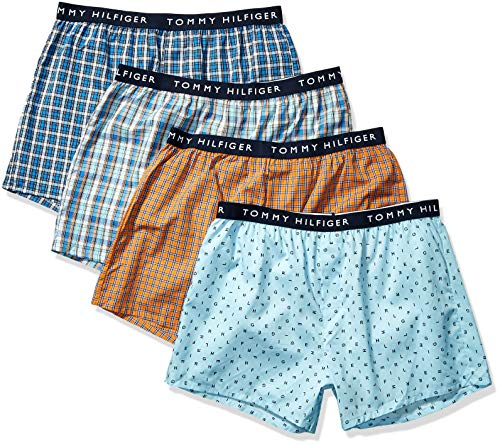 Tommy Hilfiger Men's Underwear Cotton 4 Pack Woven Boxers, Goldfish, Medium