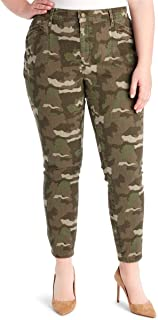 Womens Plus Denim Printed Cargo Pants