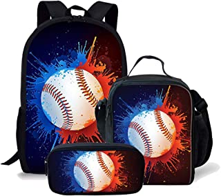 Baseball Print Boys Girls Backpack Daypack Set 3 Pieces School Bookbag Lunchbox Pencil Bag