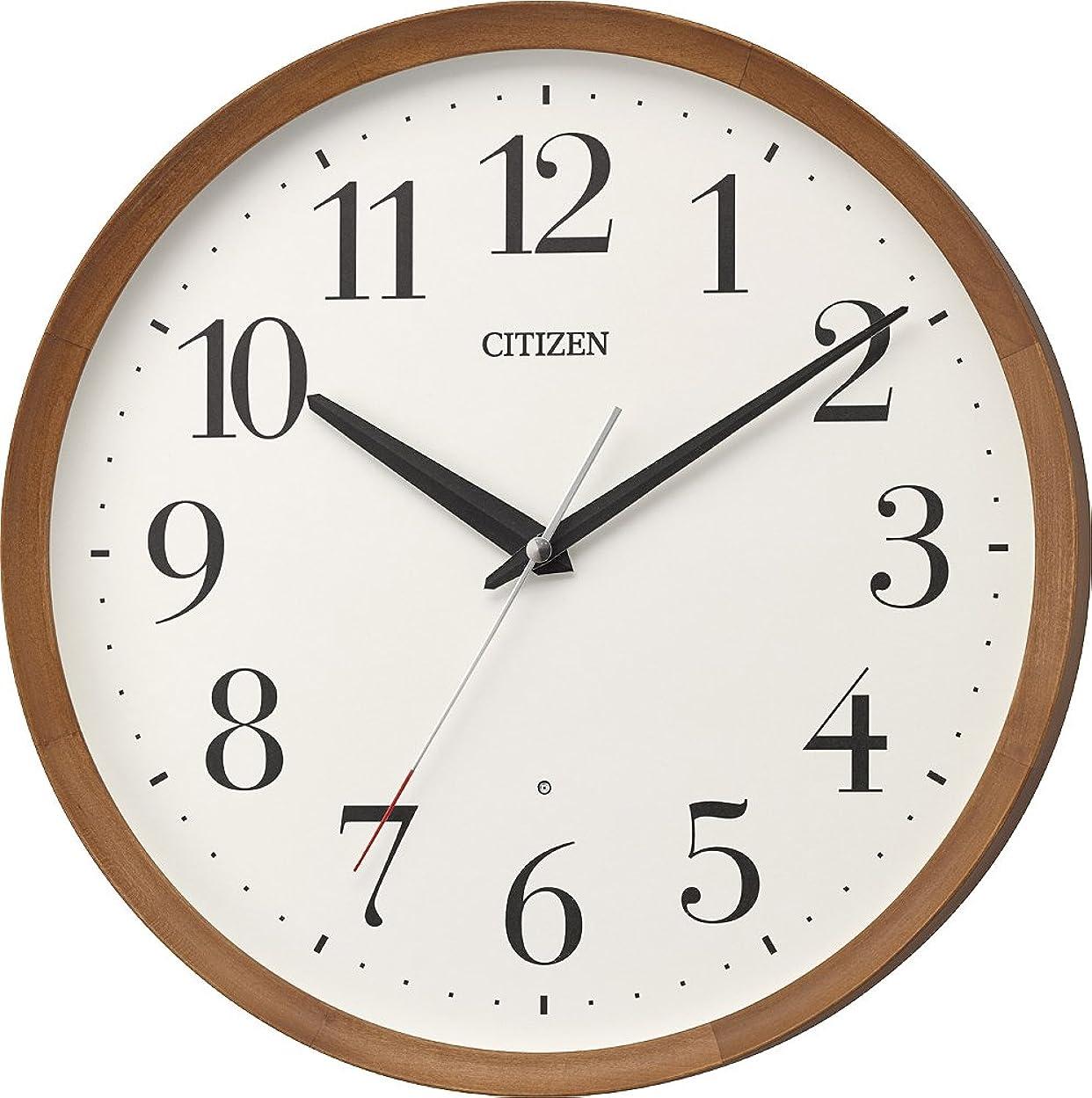 バン再開言語リズム時計工業 置き時計?掛け時計 茶色 Φ32x5.4cm 電波 アナログ M535 連続秒針 丸型 木 シチズン 8MY535-006