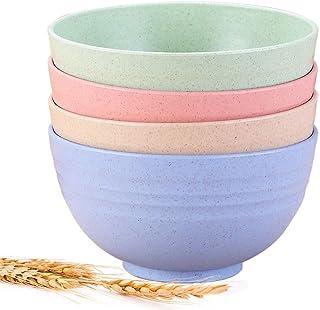 Lightweight Degradable Cereal Bowls-Wheat Straw Bowls 24 OZ Eco-Soup Bowls Dishwasher Safety, Perfect for Noodle Fruit,Des...