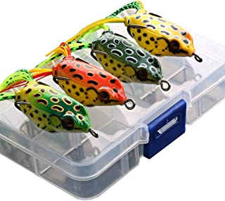 G.S YOZOH Topwater Frog Fishing, 4 Pack Lures Artificial Soft Baits Tackle Kits