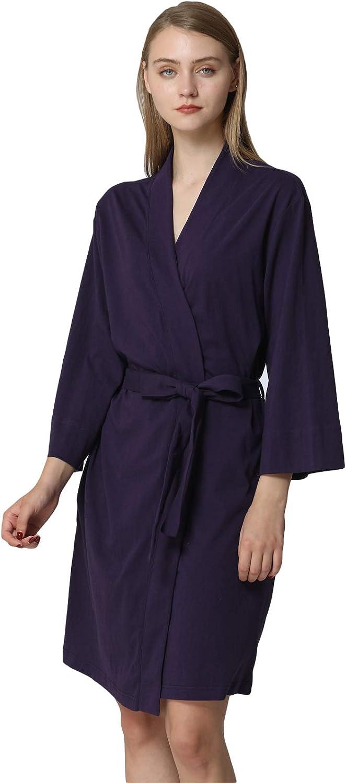 Anna King Women's Cotton Robe Lightweight Soft Kimono Knit Bathrobe Loungewear Sleepwear Short SXL