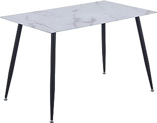GOLDFAN Table de Salle à Manger en Verre Table à Manger Marbre Rectangulaire Table de Cuisine AVCE Pieds Noire pour Salon ...
