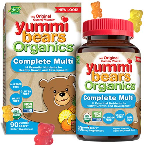 Yummi Bears Organics Complete Multi Vitamin and Mineral Supplement, Gummy Vitamins for Kids, 90 Count (Pack of 1)
