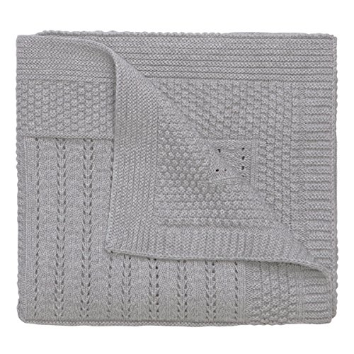 Elegant Baby 100% Cotton Seed Knit Blanket, Gray, 30\