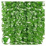 sknonr 12 hebras de Hiedra Artificial Hoja Verde Guirnalda decoración de la Pared de la Pared Que cuelga Las Hojas de la Planta (Color : Green)
