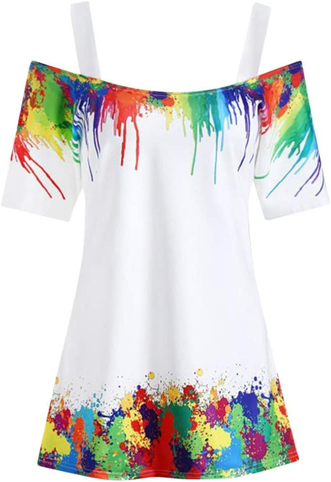 DressLksnf Camiseta Moda de Mujer Tinte de Color Mangas ...