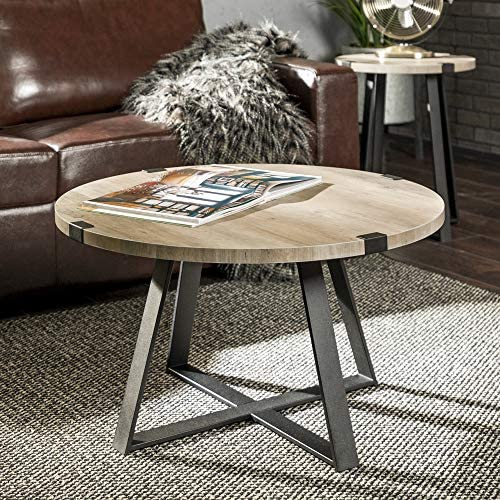Best WE Furniture Rustic Farmhouse Round Metal Coffee Accent Table Living Room, 30 Inch, Grey, Black