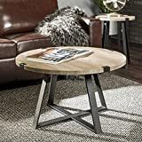 Walker Edison Furniture Rustic Farmhouse Round Metal Coffee Accent Table Living Room, 30 Inch, Grey, Black