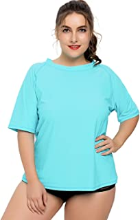 Sociala Women's Plus Size Short Sleeve Rashguard UPF 50+ Rash Guard Swim Shirt