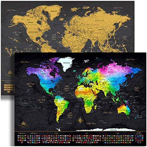 World Map Scratch Off Map of the World (24x17) – Unique Gift with Pull Flower Ribbon bonus - Gold & Watercolor Travel Scratch Off World Map Poster – Fun & Educational Keepsake to Celebrate Travels!