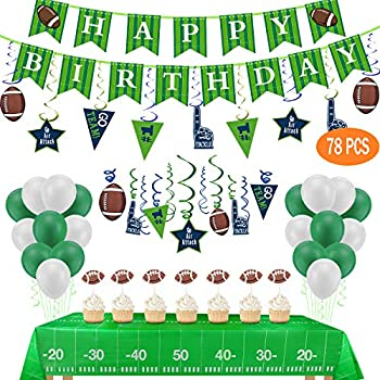 Football Birthday Party Decorations-Include Banners,2 Tablecovers 54  x72   ,30Ct Hanging Swirl Decorations,24 Cupcake Toppers,20 Balloons for Football Theme Party
