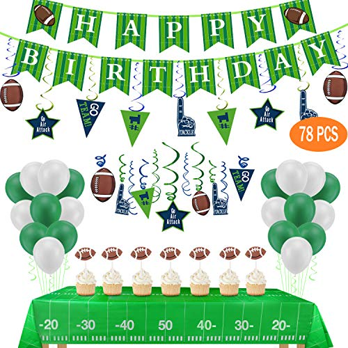 Football Birthday Party Decorations-Include Banners,2 Tablecovers(54''x72''),30Ct Hanging Swirl Decorations,24 Cupcake Toppers,20 Balloons for Football Theme Party