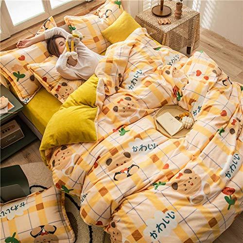 geek cook Duvet cover,Winter thickened milk fleece four-piece bedding warmth flannel three-piece bed sheet-Bear_1.8 meters