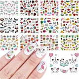 12 Sheets Nail Stickers Nail Art Accessories Water Transfer Nail Decals Cartoon Cute Cat Heart Lip Cactus Nail Sticker for Women Girls Manicure Designs Nail Tips Decorations
