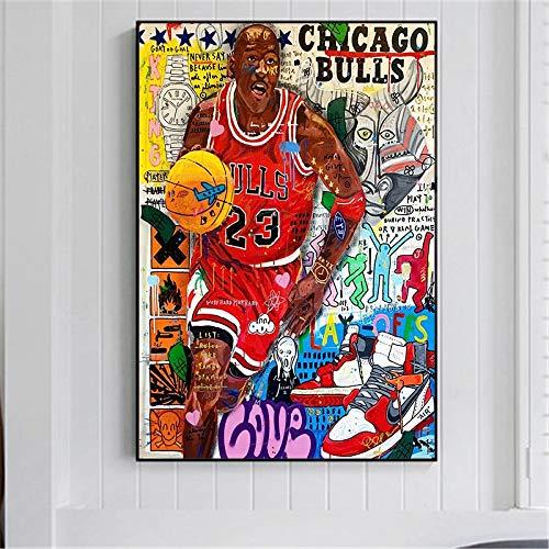 DIY Pintar por números Famoso jugador de baloncesto en el arte del graffiti pintar por numeros para adultos y ninos Con pincel y pintura acrílica pintura por números para adul50x70cm(Sin marco)
