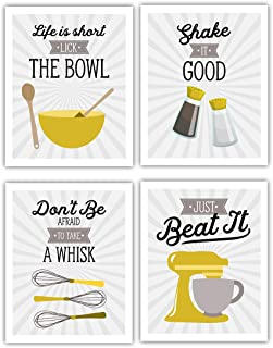 Yellow Retro Vintage Kitchen Wall Art Signs - Set of 4-8x10 UNFRAMED Gray, Gold & White Kitchen Utensil Prints Perfect for Rustic, Modern Farmhouse, Country Decor.