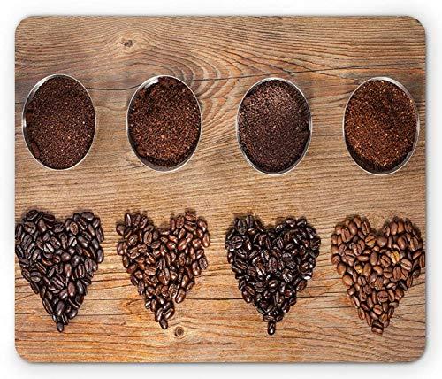 Kaffeemaus-Pad, Übersicht Layout Der Bohnen In Form Von Herzen Und Gemahlenem Kaffee, Rutschfestes Gummi-Mauspad, Dunkelbraunes Und Blasses Karamell