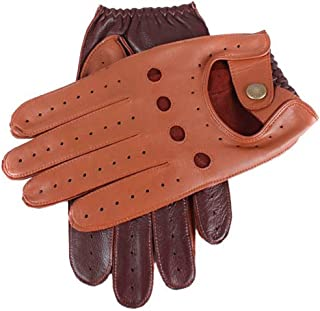 Dents Mens Two Tone Leather Driving Gloves - Cognac/English Tan