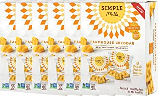 Simple Mills Almond Flour Cracker Snack Pack, Farmhouse Cheddar, 4.9 oz, 6 Count