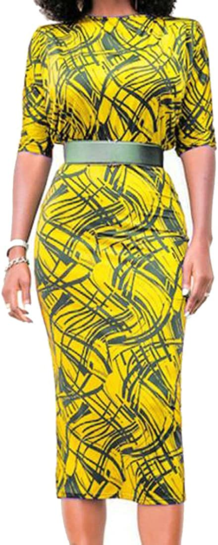 XiaoTianXin-women clothes XTX Womens Bodycon Geometry Printed High Rise Pencil OL Belted Dress Yellow L