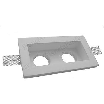 Molla Blocca Lampadina Porta Faretto in Gesso Ceramico a Scomparsa Doppio PF2 LOTTO DA 10 PEZZI